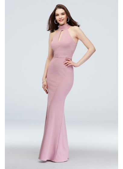 High-Neck Keyhole Scuba Crepe Dress - This modern, body-hugging scuba-crepe bridesmaid dress features an